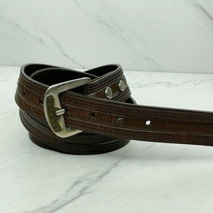 Sebago Vintage Embossed Brown Leather Belt Size 36